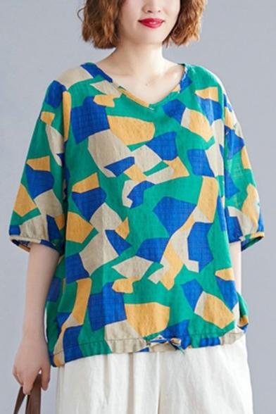 Women's Fashion Geometric Print V-Neck Half Sleeve Loose Green Linen Blouse Top