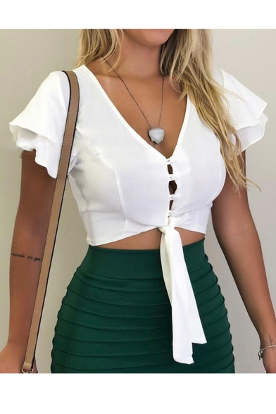 Womens Basic Simple Plain V-Neck Short Sleeve Knotted Hem Button Front Cropped Blouse
