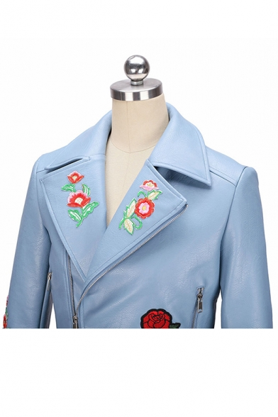 Womens Chic Floral Embroidery Notched Lapel Collar Long Sleeve Zip Up Short PU Biker Jacket