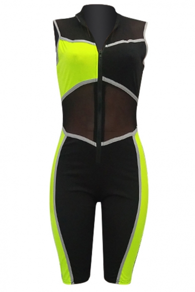 Womens Fashion Sleeveless Colorblock Sheer Mesh Patch Zipper Up Skinny Fitted Rompers
