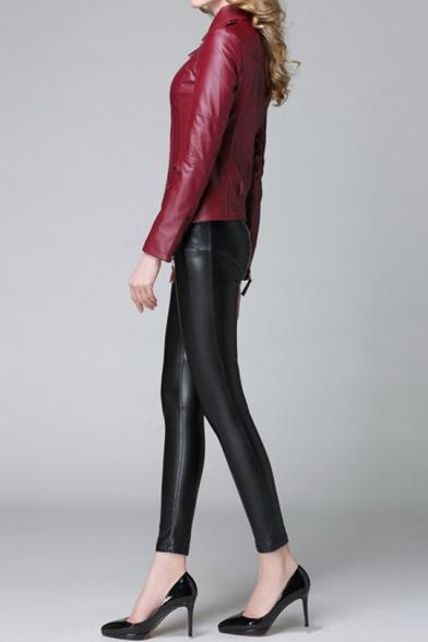 Womens New Stylish Plain Notched Lapel Collar Long Sleeve Zip Up PU Biker Jacket