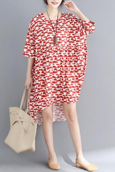 Womens Plus Size Fashion Red Pattern Dipped Hem Midi Chiffon Swing Dress