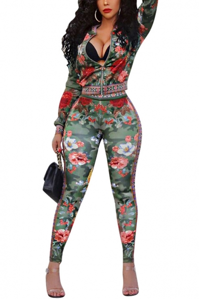 Womens Popular Floral Print Round Neck Long Sleeve Coat Mid Waist Skinny Pants Co-ords