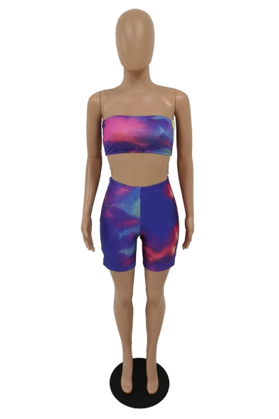 Womens Purple Ombre Print Skinny sleeveless Strapless Tops with High Waist Shorts Two Piece Set, LM556131