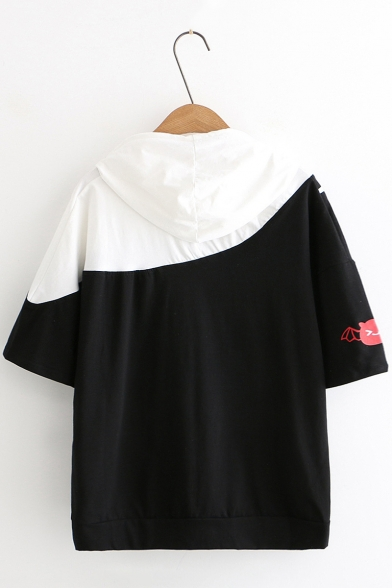 Womens Short Sleeve Cartoon Printed Colorblock Patch Casual Loose Hooded T Shirt