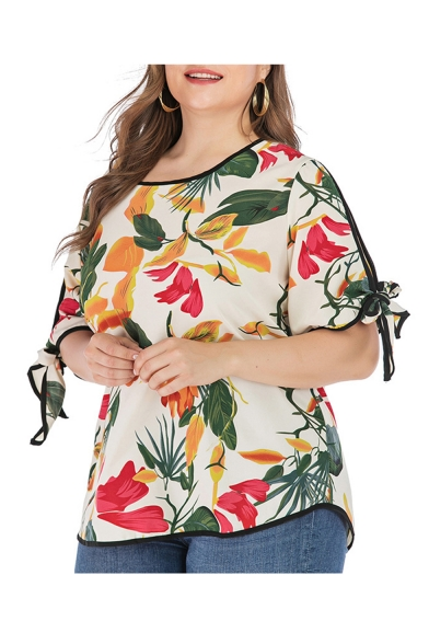 Womens Summer Fancy Floral Print Round Neck Bow Short Sleeve Casual Beige Blouse Top