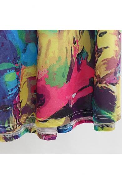 Womens Summer V-Neck Short Sleeve Bow-Tied Waist Color Block Pleated A-Line Maxi Dress