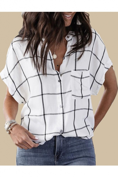Womens Summer White Check Printed Stand Collar Short Sleeve Button Down Shirt