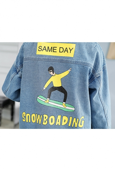 Cartoon Skateboard Boy SWONBOADING Printed Casual Denim Jacket Coat