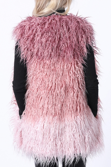 Chic V Neck Contrast Panel Long Fox Fur Vest Coat with Pockets