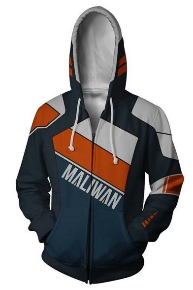 Colorblock Letter MALIWAN Printed Comic Cosplay Costume Long Sleeve Navy Drawstring Zip Up Hoodie