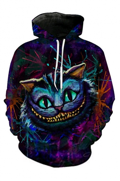 Creative Fashion Cartoon Cat 3D Printed Long Sleeve Casual Loose Purple Hoodie