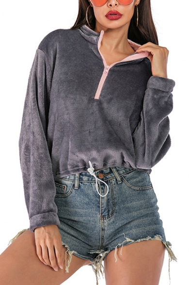 Dark Gray Zippered Stand Collar Long Sleeve Plain Fluffy Fleece Sweatshirt