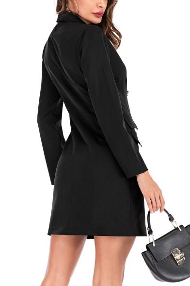 Elegant Ladies Lapel Collar Double-Breasted Slim Bodycon Long Sleeves Longline Blazer Dress