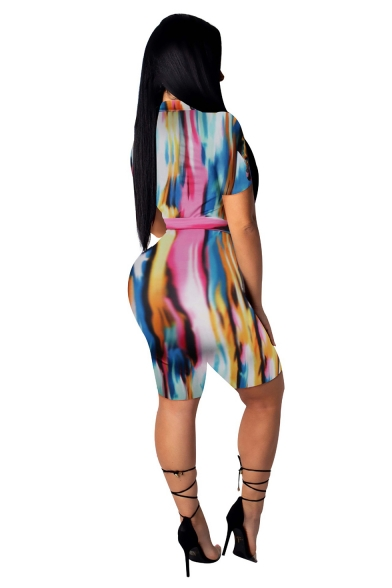 Fashion Classic Short Sleeve Tie Waist Printed Zip Front Skinny Fit Sport Rompers