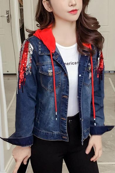 Fashion Ladies Removable Hood Sequined Embellished Short Denim Jacket Coat