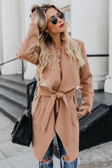 Fashion Lapel Collar Tie-Waist Long Sleeve Longline Solid Color Slim Trench Coat