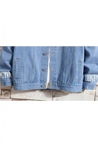 Fashion Letter PWUA Print Long Sleeve Pockets Casual Light Blue Denim Jacket for Guys