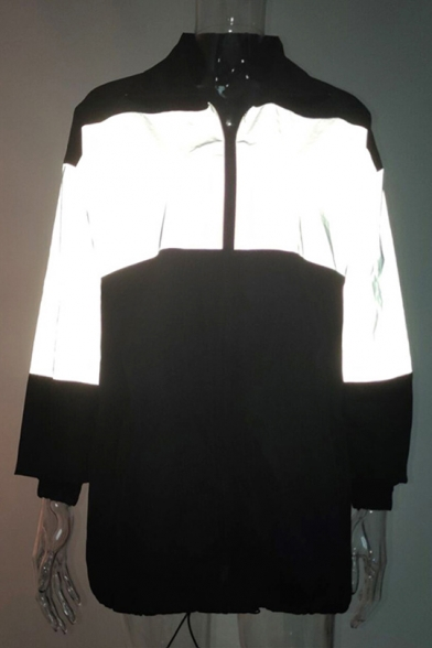 Fashion Reflect Light Panel Elastic Cuffs Stand Collar Zip Up Long Trench Coat