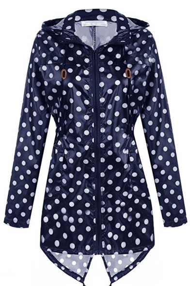 Fashion Waterproof Polka Dot Long Sleeve Split Back Hooded Zipper Raincoat for Adult
