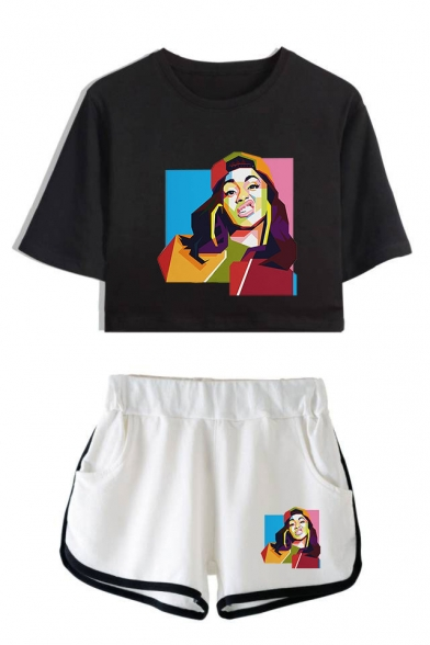Funny Colorful Geometric Figure Print Short Sleeve Crop Tee with Loose Dolphin Shorts Two-Piece Set Co-ords, Color 1;color 2;color 3;color 4;color 5;color 6;color 7;color 8, LM551419