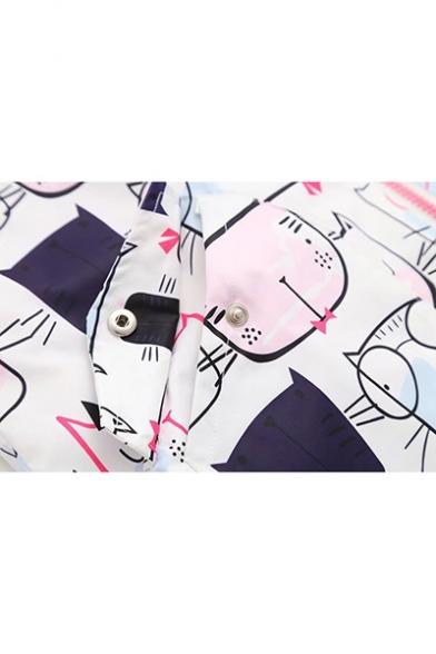 Girls Cute Allover Cartoon Cat Face Printed Long Sleeve Zip Up Hooded Coat