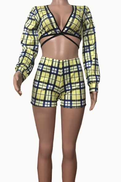 Hot Fashion Yellow Check Printed Deep V-Neck Long Sleeve Crop Top with Fitted Shorts Co-ords