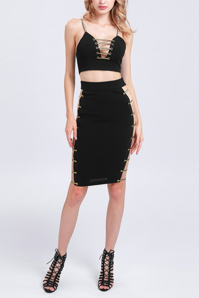 Hot Sale Ladies Sexy Black Plain Hardware Sleeveless Strap Cami with High-Waist Skirts Bare Sides Co-ords, LM556526