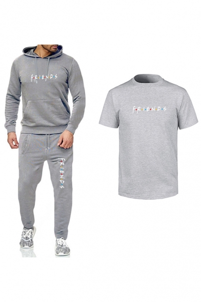 Hot Trendy Friends Logo Printed Short Sleeve T-Shirt Fitted Hoodie with Joggers Sweatpants Three-Piece Set