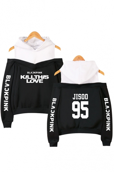 KILL THIS LOVE Letter Printed Long Sleeve Cold Shoulder Fashion Hoodie
