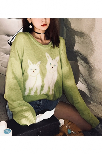 Ladies Lovely Kitty Print Round Neck Drop Sleeve Shaggy Sweater, LM558543, Black;green;white;purple