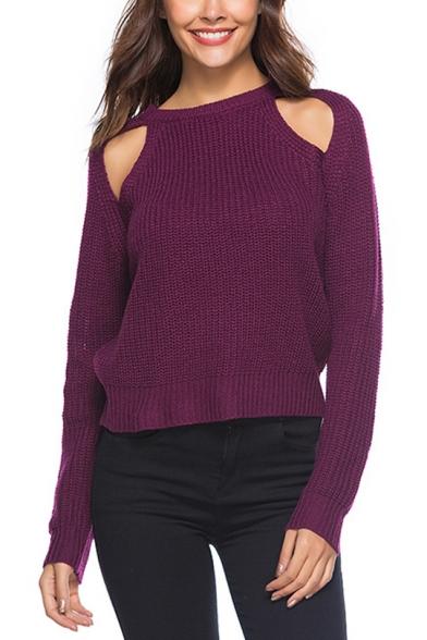 Ladies Unique Plain Boat Neck Cold Shoulder Long Sleeve Sweater Knitwear, Black;blue;green;gray;light purple;purple-red, LM557070