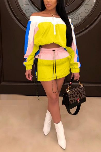 Long Sleeve Cropped Sweatshirt with Drawstring Cord Mini Skirt Colorblock Patch Loose Sunscreen Co-ords