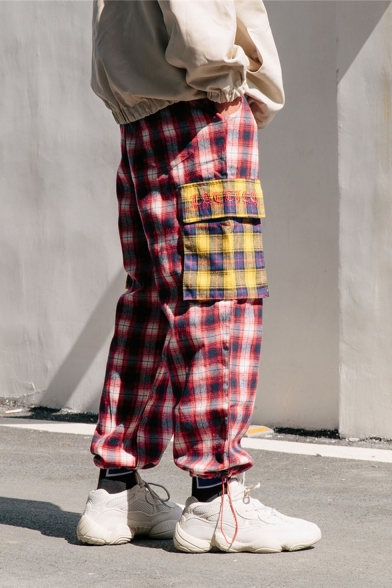 Mens Popular Fashion Colorblock Plaid Pattern Loose Fit Drawstring Sports Cargo Pants