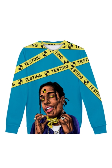 New Arrival American Popular Rapper 3D Printed Long Sleeve Round Neck Blue Sweatshirts