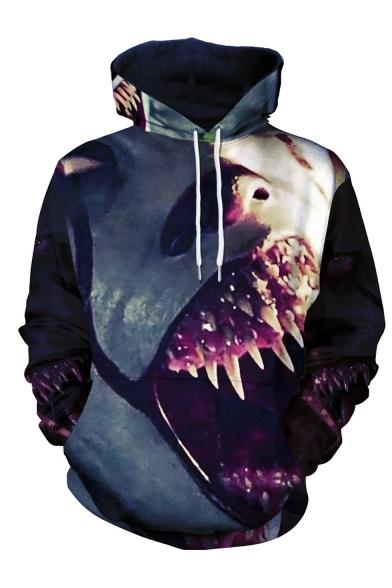 New Fashion Halloween Horrible Clown Tooth 3D Printed Long Sleeve Black Drawstring Hoodie