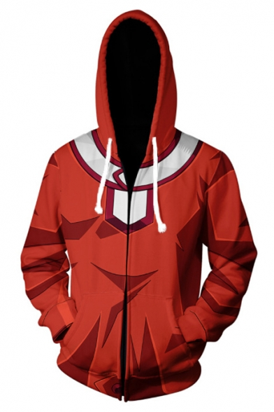 New Stylish Comic Cosplay Costume Red Long Sleeve Zip Up Drawstring Hoodie