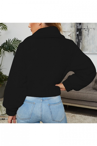 New Stylish Plain Lapel Collar Long Sleeve Faux Fur Cropped Coat with Pockets