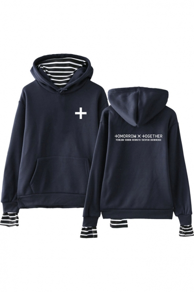 Popular TXT Simple Letter Logo Print Striped Fake Two-Piece Loose Hoodie, Black;dark navy;pink;white;gray, LM551424