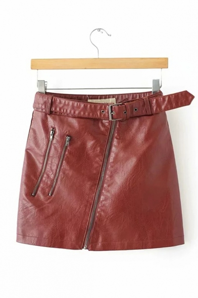 Rock-and-Roll Belted Off-center Zip Embellished PU Fitted Mini Skirt LM557142 фото