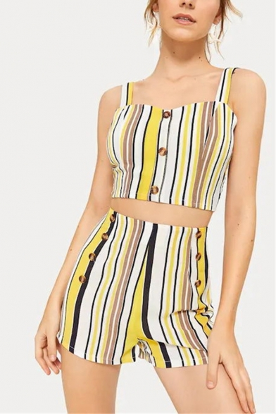 Summer Fashion Yellow Stripe Printed Button Crop Cami with Leisure Shorts Two-Piece Set