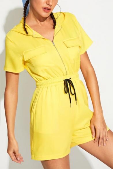 Summer Hot Stylish Yellow Short Sleeve Drawstring Waist Flap Pocket Zipper Front Hooded Rompers