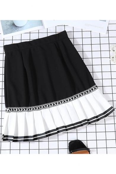 Summer New Arrival High Waist Colorblock Patch Chiffon Hem Mini Pleated A-Line Skirt
