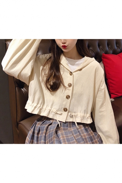 Sweet Style Solid Color Drawstring at Hood Elastic Cuffs Long Sleeve Cropped Coat Jacket