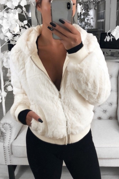 Winter Fashion Long Sleeve Rabbit Fur Zipper Short Hooded Coat with Pocket