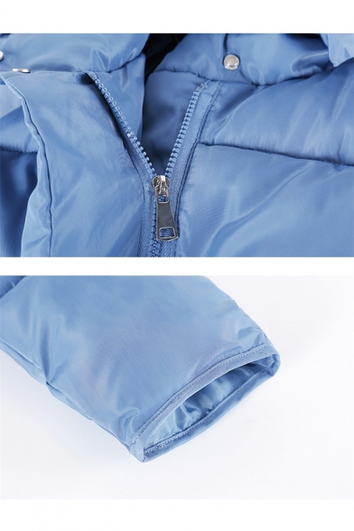 Winter's Warm Basic Plain Hooded Zip Up Down Padded Coat with Pockets