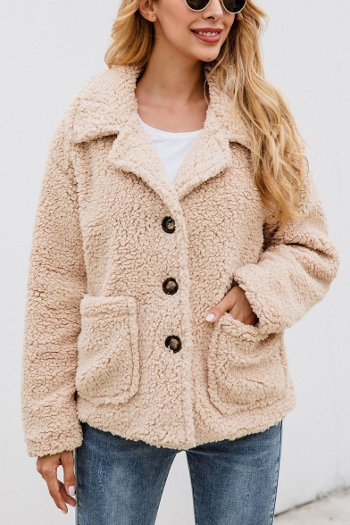 Women Fashionable Notched Lapel Single Breasted Long Sleeve Wool Coat with Pockets