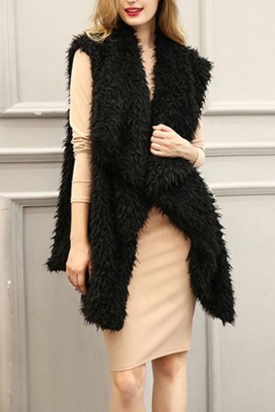 Women's New Fashion Plain Fold-Over Collar Sleeveless Faux Fur Longline Vest