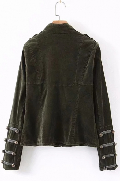 Women's Standing Collar Long Sleeve Army Green Military Jacket
