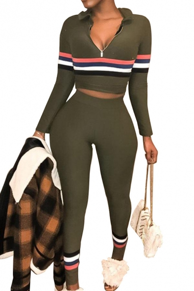 Womens Casual Stripes Print Collared Long Sleeve Tops with High Waist Slim Fit Pants Co-ords, LM556488, Black;red;gray;army green